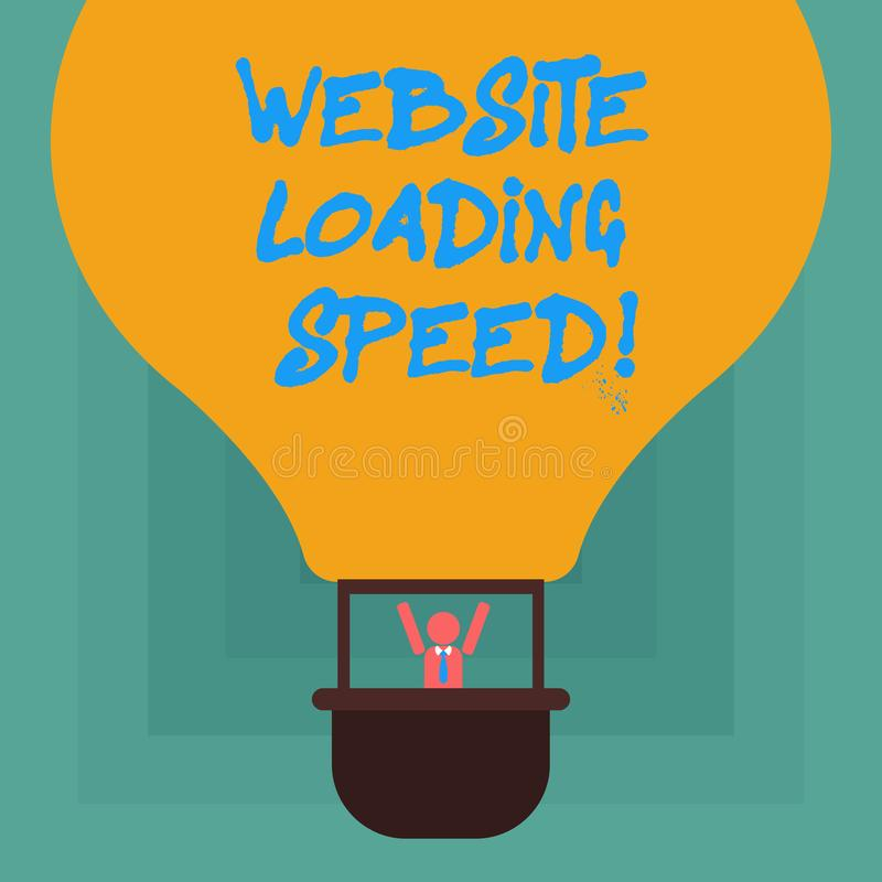 Conceptual hand writing showing Website Loading Speed. Business photo showcasing time takes to display the entire content of a. Webpage Hu analysis Dummy Arms vector illustration