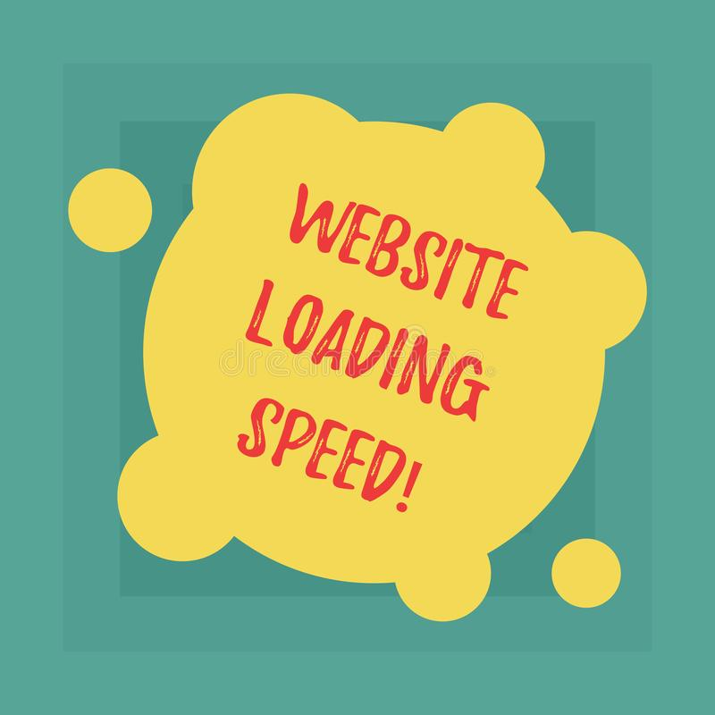Conceptual hand writing showing Website Loading Speed. Business photo showcasing time takes to display the entire. Content of a webpage Blank Deformed Color royalty free illustration