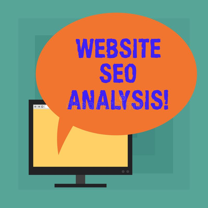 Conceptual hand writing showing Website Seo Analysis. Business photo text Process of making changes to increase site. Visibility Mounted Computer Blank Screen stock illustration