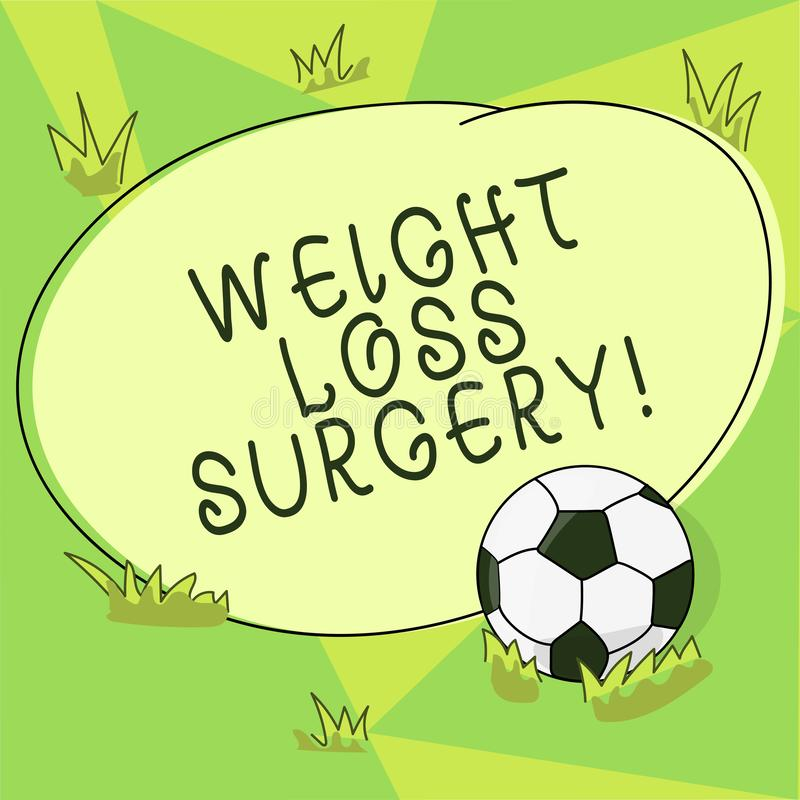 Conceptual hand writing showing Weight Loss Surgery. Business photo showcasing do on stomach intestines to help. Demonstrating extreme obesity Soccer Ball on royalty free illustration