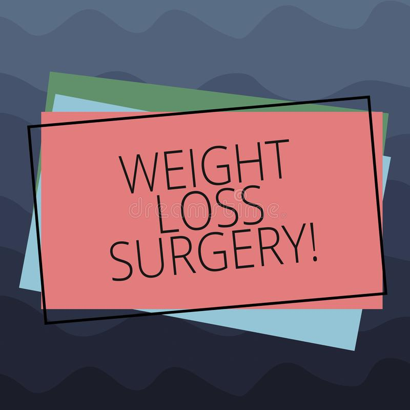 Conceptual hand writing showing Weight Loss Surgery. Business photo text do on stomach intestines to help demonstrating. Extreme obesity Pile of Rectangular royalty free illustration