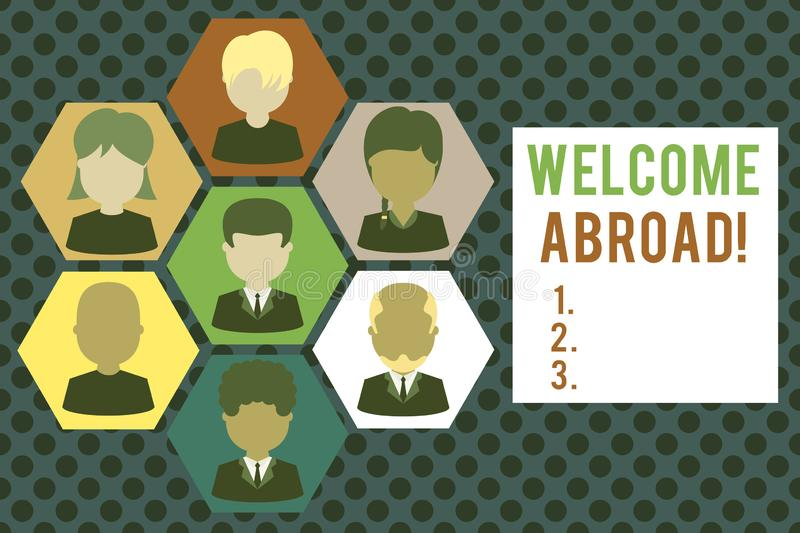 Conceptual hand writing showing Welcome Abroad. Business photo showcasing something that you say when someone gets on. Conceptual hand writing showing Welcome stock illustration