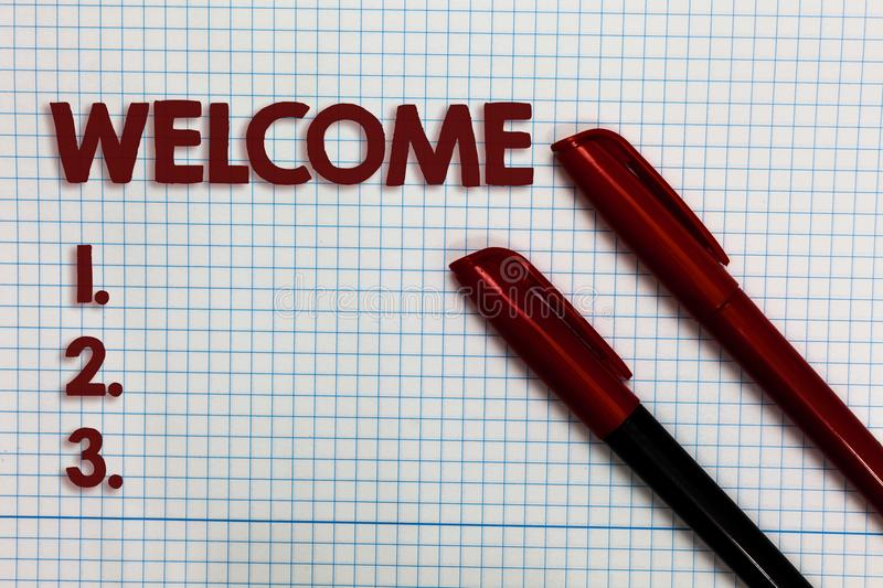 Conceptual hand writing showing Welcome. Business photo showcasing Warm salutation acknowledgement for someone amiable loved thank. Ed Graph paper ideas stock image