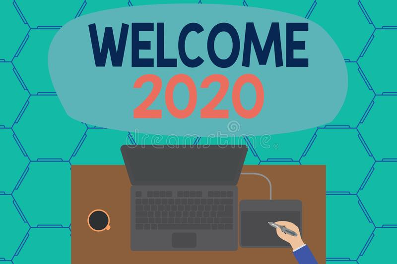 Conceptual hand writing showing Welcome 2020. Business photo showcasing New Year Celebration Motivation to Start Cheers vector illustration