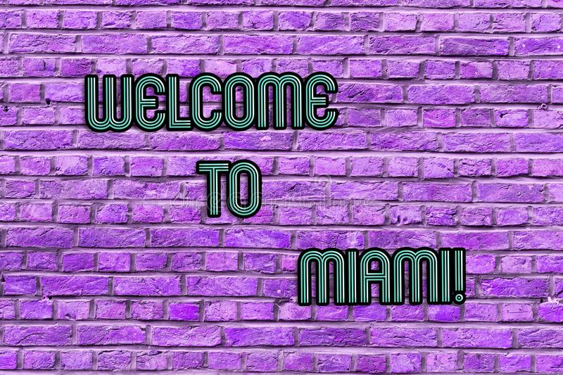 Conceptual hand writing showing Welcome To Miami. Business photo text Arriving to Florida sunny city summer beach. Conceptual hand writing showing Welcome To stock photos