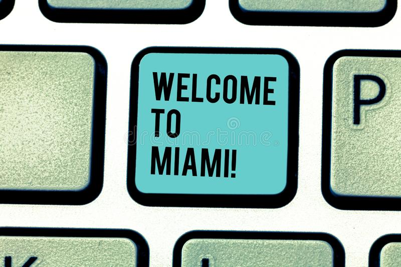Conceptual hand writing showing Welcome To Miami. Business photo text Arriving to Florida sunny city summer beach. Conceptual hand writing showing Welcome To royalty free stock images