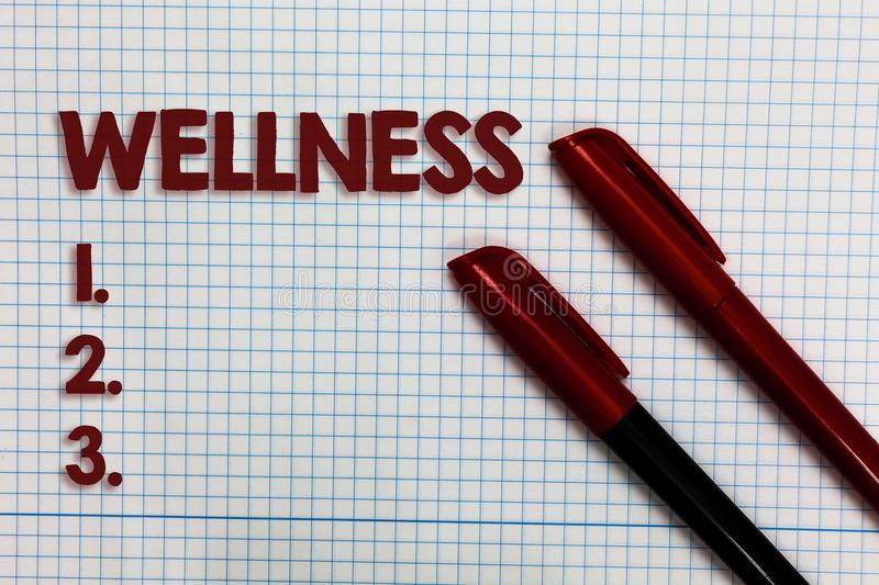 Conceptual hand writing showing Wellness. Business photo showcasing Making healthy choices complete mental physical relaxation Gra stock photography