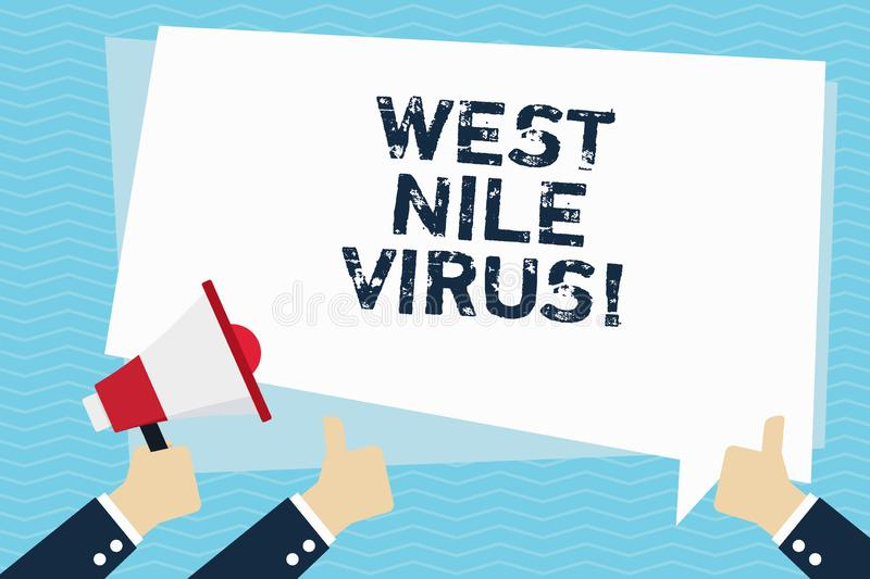 Conceptual hand writing showing West Nile Virus. Business photo text Viral infection cause typically spread by. Mosquitoes royalty free illustration