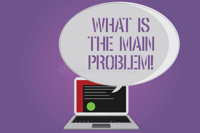 Conceptual hand writing showing What Is The Main Problem. Business photo text Identify the cause of troubles Repair work. Certificate Layout on Laptop Screen stock illustration