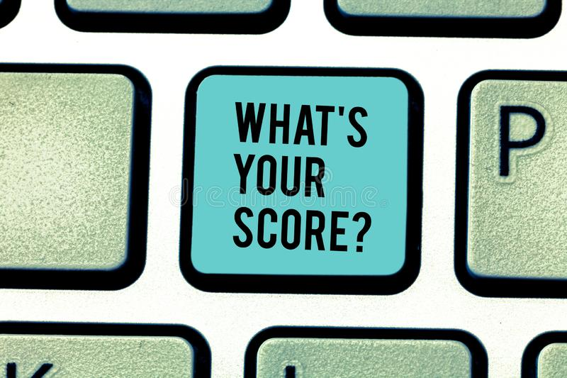 Conceptual hand writing showing What S Your Score. Business photo text Personal grade rating on a competition game or. Conceptual hand writing showing What S royalty free stock photos