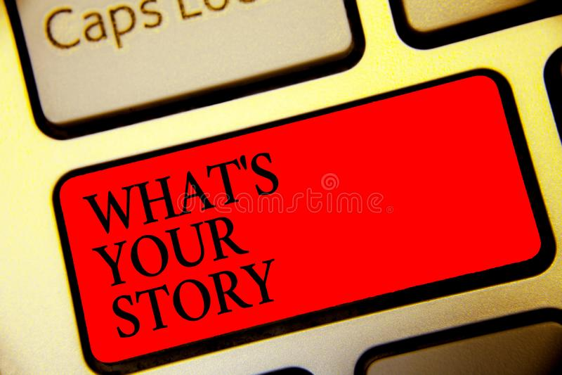 Conceptual hand writing showing What s is Your Story. Business photo text asking someone tell me about himself Share experience Sy stock images