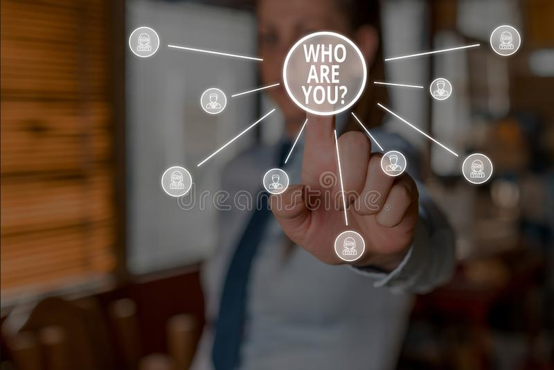 Conceptual hand writing showing Who Are You Question. Business photo showcasing asking about someone identity or. Conceptual hand writing showing Who Are You royalty free stock photography