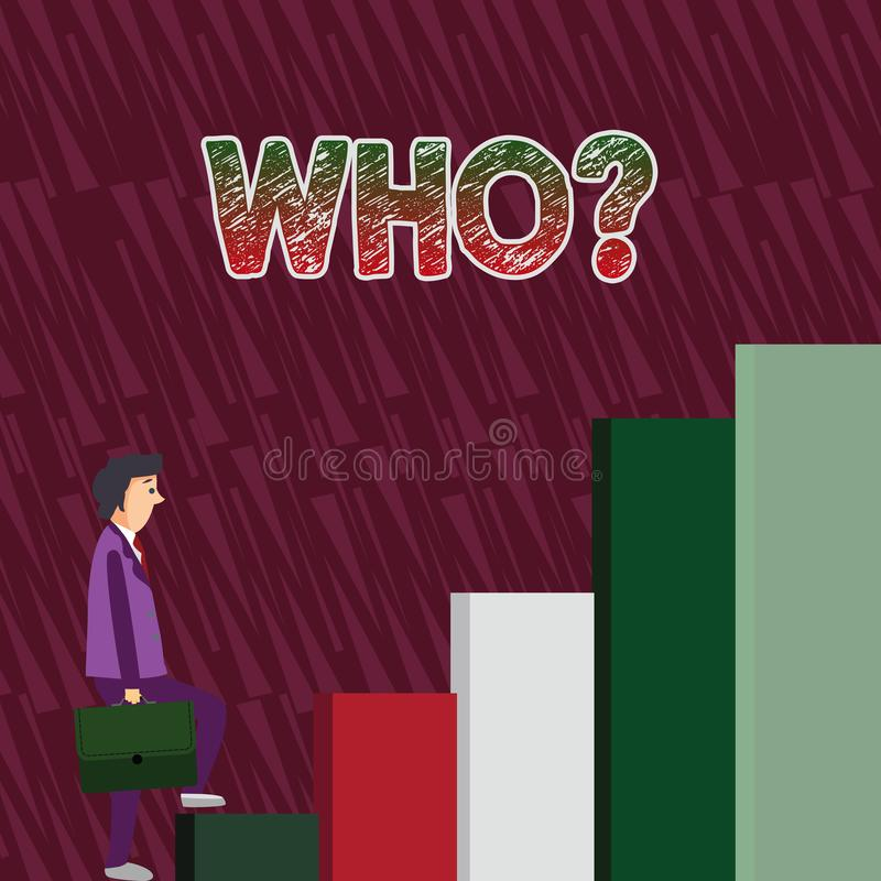Conceptual hand writing showing Whoquestion. Business photo text Asking for specific name of someone showing. Conceptual hand writing showing Whoquestion royalty free illustration
