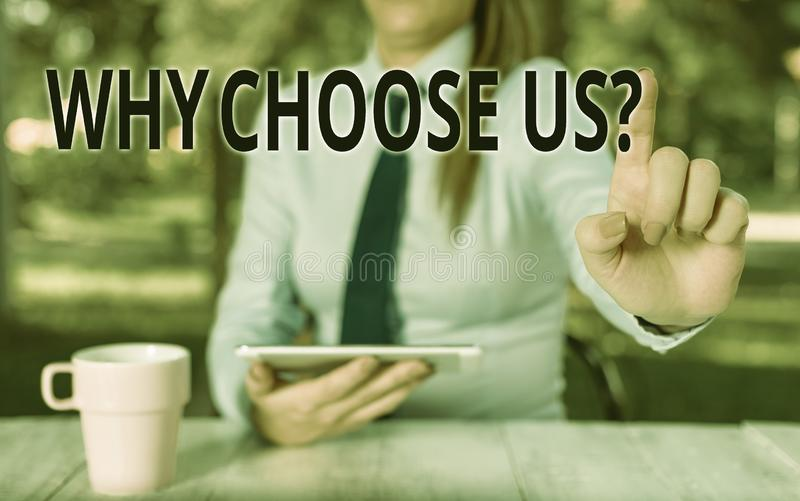 Conceptual hand writing showing Why Choose Us Question. Business photo text list of advantages and disadvantages to. Conceptual hand writing showing Why Choose stock photography