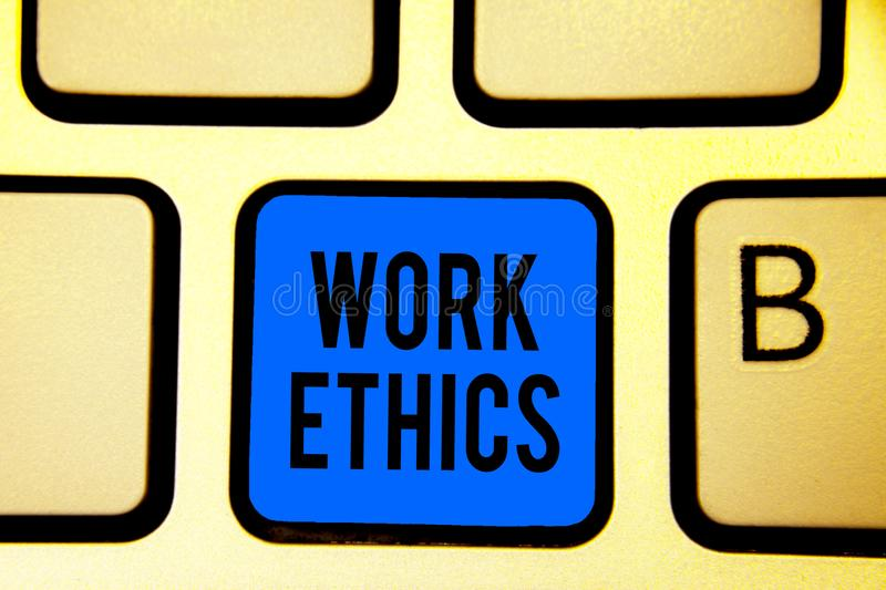 Conceptual hand writing showing Work Ethics. Business photo text A set of values centered on the importance of doing work Keyboard. Blue key Intention computer royalty free stock photo