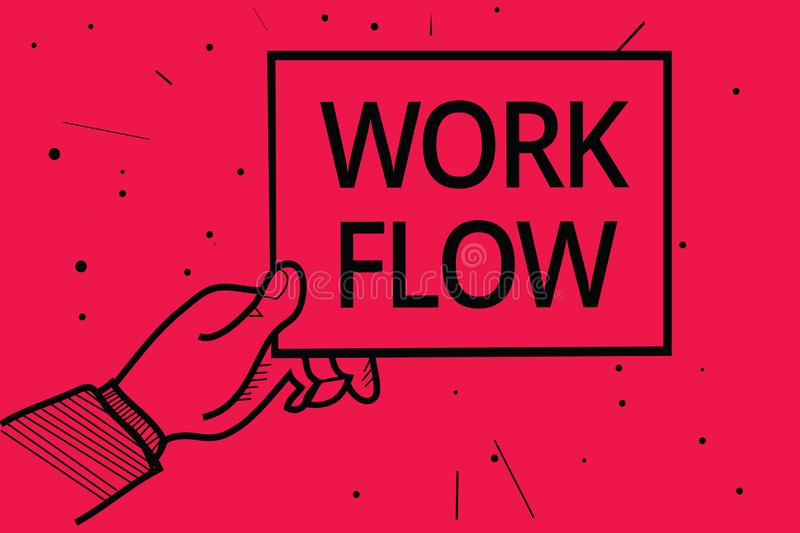 Conceptual hand writing showing Work Flow. Business photo text Continuity of a certain task to and from an office or employer Man. Holding paper communicating royalty free illustration