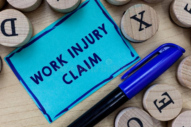 Conceptual hand writing showing Work Injury Claim. Business photo text Medical care reimbursement Employee compensation.  royalty free stock photo