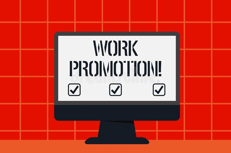 Conceptual hand writing showing Work Promotion. Business photo text advancement of an employee within a company position. Conceptual hand writing showing Work royalty free illustration
