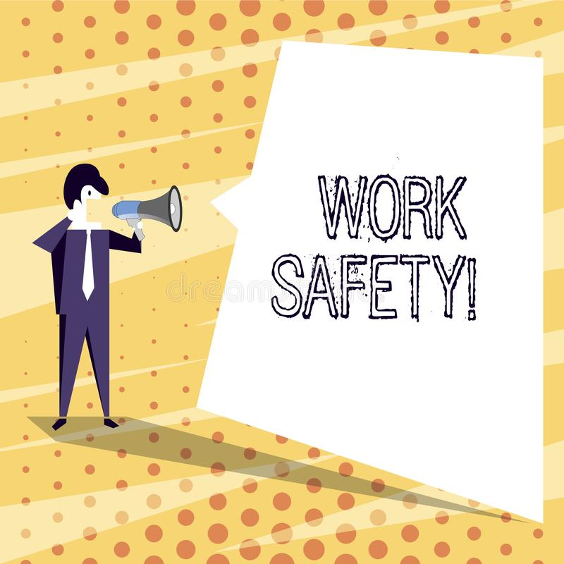 Conceptual hand writing showing Work Safety. Business photo text policies and procedures in place to ensure health of. Conceptual hand writing showing Work vector illustration