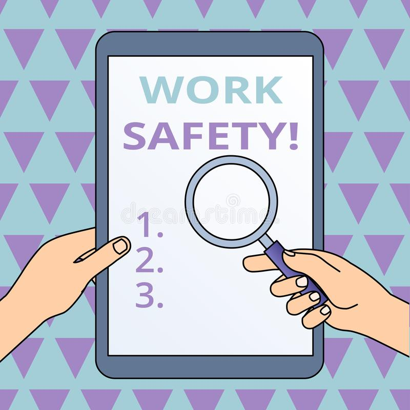 Conceptual hand writing showing Work Safety. Business photo showcasing policies and procedures in place to ensure health. Conceptual hand writing showing Work royalty free illustration