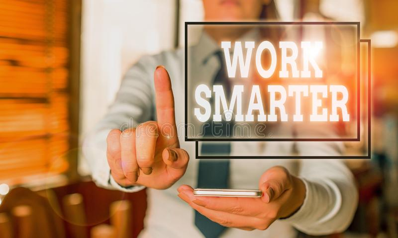 Conceptual hand writing showing Work Smarter. Business photo text figuring out order to reach goals in the most. Conceptual hand writing showing Work Smarter stock photo