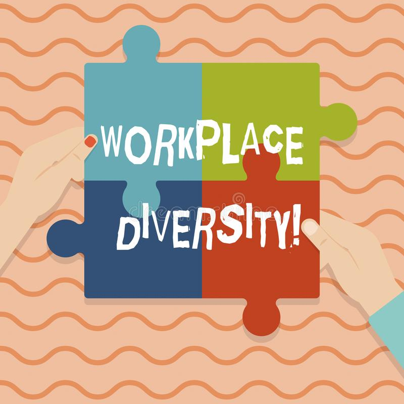 Conceptual hand writing showing Workplace Diversity. Business photo showcasing Different race gender age sexual orientation of. Workers stock illustration