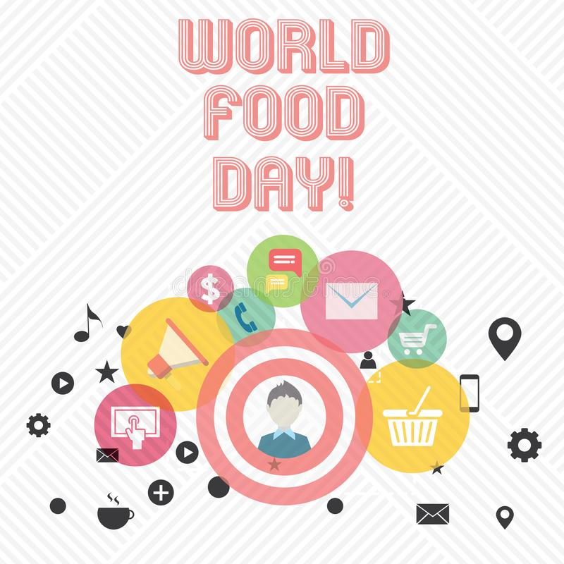 Conceptual hand writing showing World Food Day. Business photo showcasing World day of action dedicated to tackling. Global hunger royalty free illustration