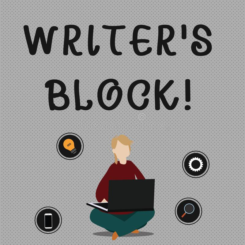 Conceptual hand writing showing Writer S Is Block. Business photo showcasing condition of being unable to make a piece. Conceptual hand writing showing Writer S vector illustration