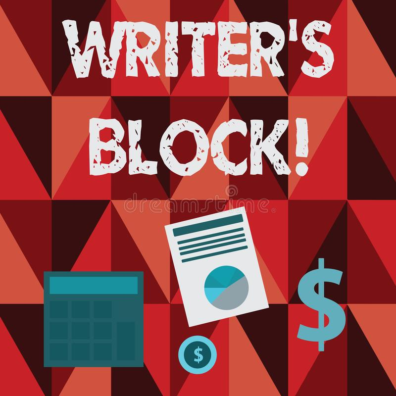 Conceptual hand writing showing Writer S Is Block. Business photo text condition of being unable to make a piece of. Conceptual hand writing showing Writer S Is royalty free illustration