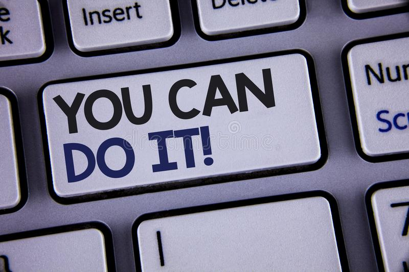 Conceptual hand writing showing You Can Do It Motivational Call. Business photo showcasing Inspirational Message Motivational Posi. Tive Text two words backspace royalty free stock photos