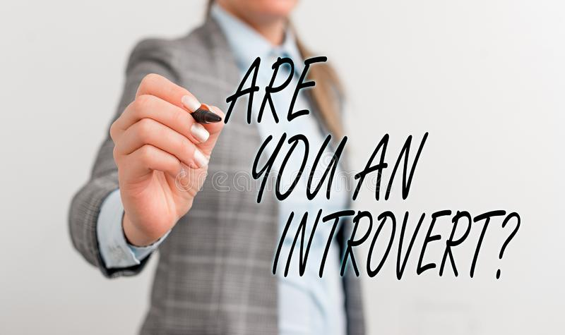Conceptual hand writing showing Are You An Introvertquestion. Business photo text demonstrating who tends to turn inward. Conceptual hand writing showing Are You royalty free stock images