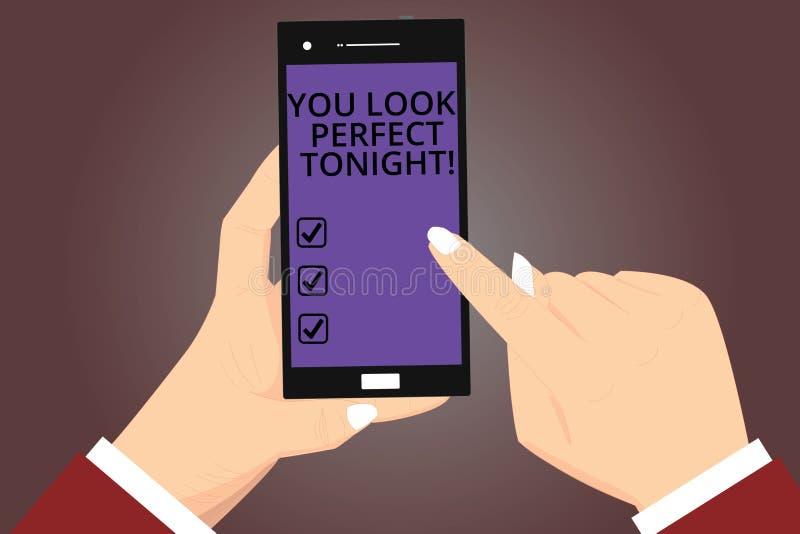 Conceptual hand writing showing You Look Perfect Tonight. Business photo showcasing Flirting beauty appreciation. Roanalysistic feelings Hu analysis Hands royalty free illustration