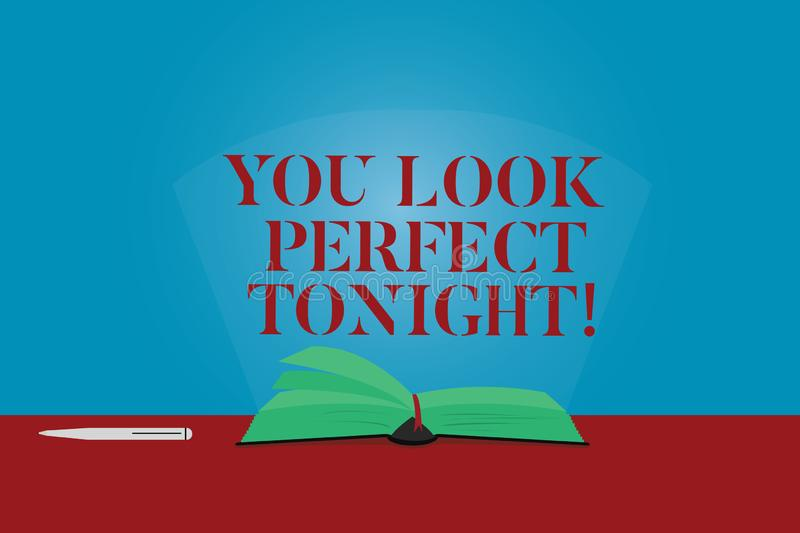 Conceptual hand writing showing You Look Perfect Tonight. Business photo text Flirting beauty appreciation roanalysistic. Feelings Color Pages of Book on Table stock illustration