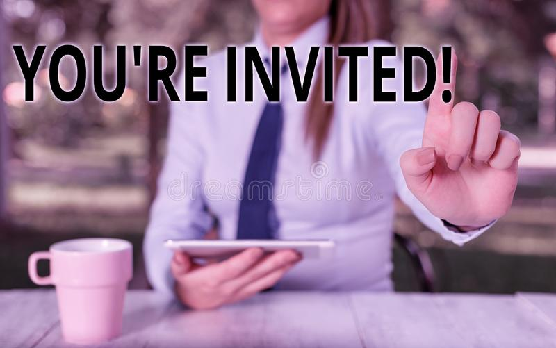 Conceptual hand writing showing You Re Invited. Business photo text make a polite friendly request to someone go. Conceptual hand writing showing You Re Invited stock photography