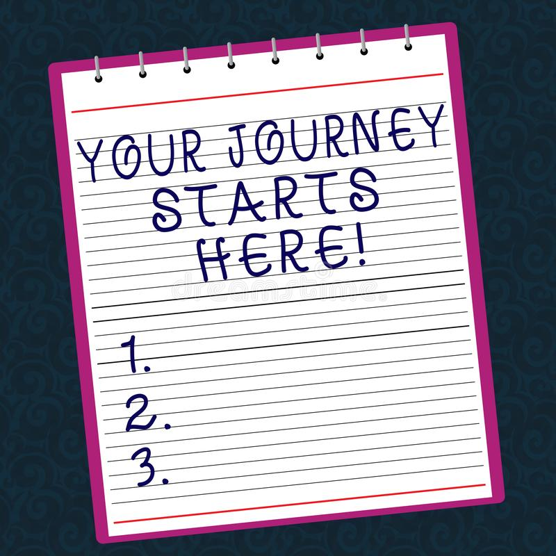 Conceptual hand writing showing Your Journey Starts Here. Business photo text Motivation for starting a business stock photo