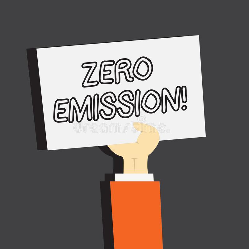 Conceptual hand writing showing Zero Emission. Business photo showcasing Engine Motor Energy Source that emits no waste. Products stock illustration