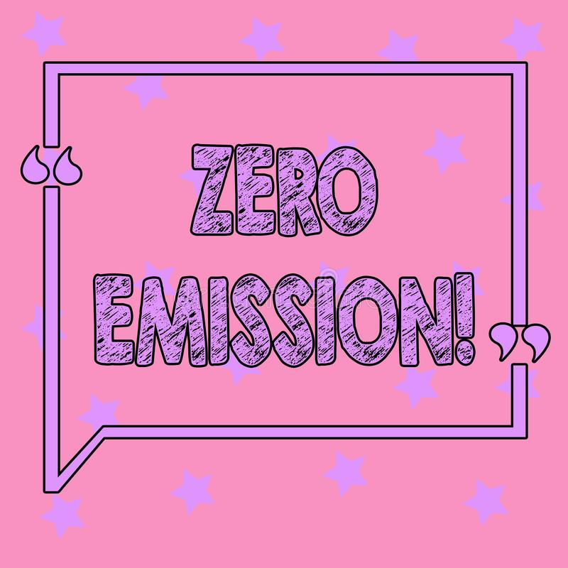 Conceptual hand writing showing Zero Emission. Business photo text Engine Motor Energy Source that emits no waste. Products stock illustration
