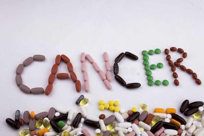Conceptual Hand writing text caption inspiration Medical care Health concept written with pills drugs capsule word. Cancer On white isolated background with royalty free stock photos