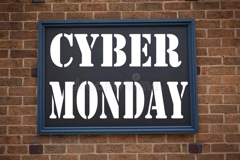 Conceptual hand writing text caption inspiration showing announcement Cyber Monday. Business concept for Retail Shop Discount writ. Ten on frame old brick stock images