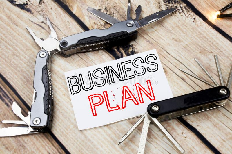 Conceptual hand writing text caption inspiration showing Business Plan Planning. Business concept for Preparation Project Strategy. Written on old wooden stock photo