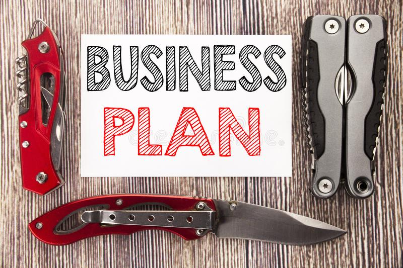 Conceptual hand writing text caption inspiration showing Business Plan Planning. Business concept for Preparation Project Strategy. Written on old wooden royalty free stock photography