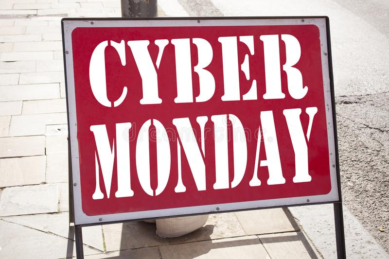 Conceptual hand writing text caption inspiration showing Cyber Monday. Business concept for Retail Shop Discount written on old an. Nouncement road sign with royalty free stock photos
