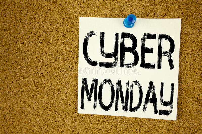 Conceptual hand writing text caption inspiration showing Cyber Monday. Business concept for Retail Shop Discount written on sticky. Note, reminder cork royalty free stock photography