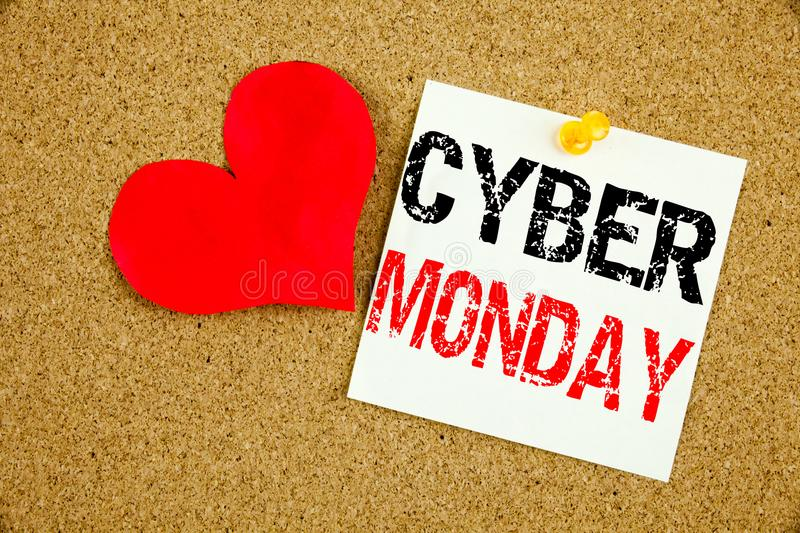 Conceptual hand writing text caption inspiration showing Cyber Monday concept for Retail Shop Discount and Love written on sticky. Note, reminder cork royalty free stock photos