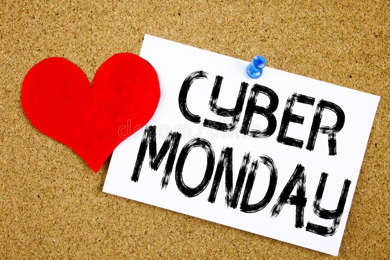 Conceptual hand writing text caption inspiration showing Cyber Monday concept for Retail Shop Discount and Love written on sticky. Note, reminder cork stock image