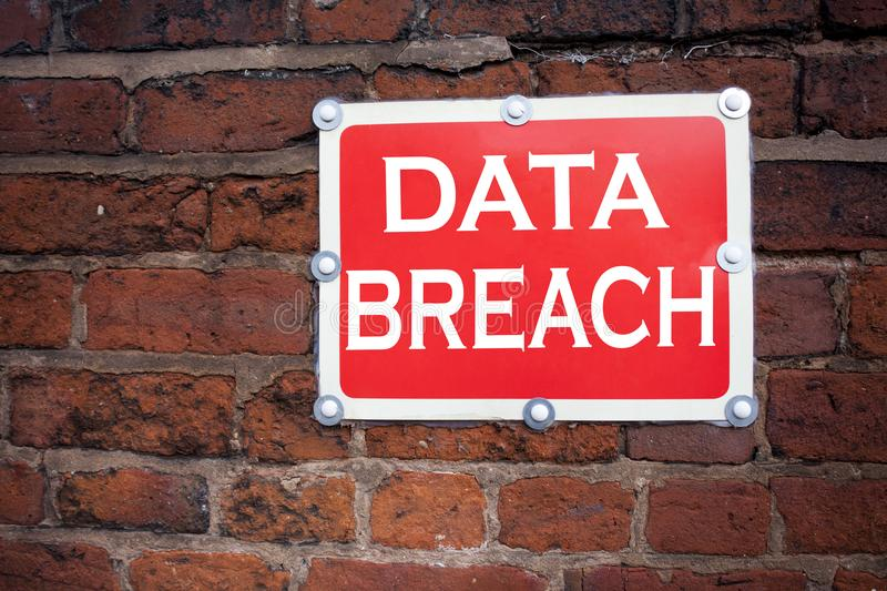Conceptual hand writing text caption inspiration showing Data Breach Business concept for Tech Internet Network Breaking into Data. Base written on old stock image