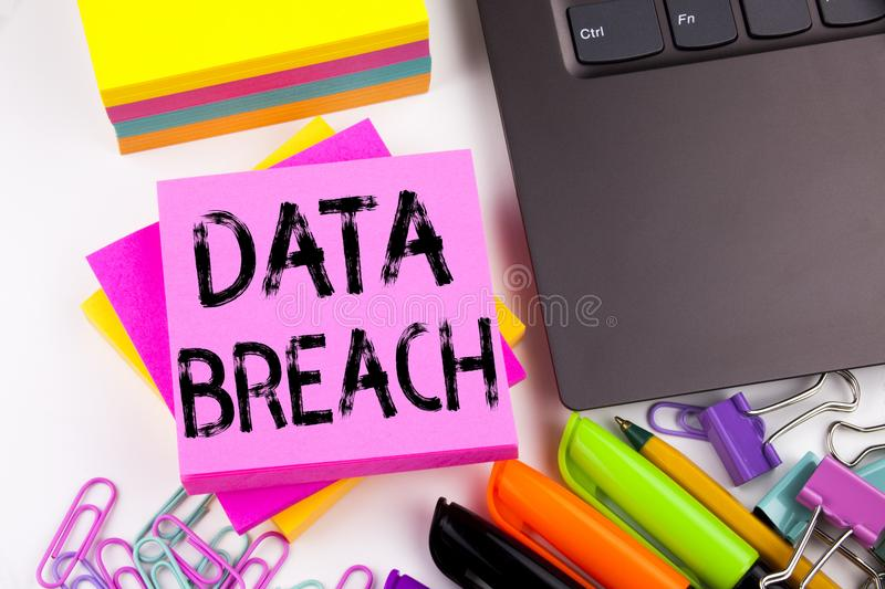 Conceptual hand writing text caption inspiration showing Data Breach concept for Tech Internet Network Breaking into Database and. Love written on sticky note stock image