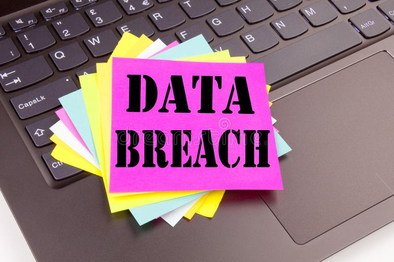 Conceptual hand writing text caption inspiration showing Data Breach concept for Tech Internet Network Breaking into Database and. Love written on sticky note stock images