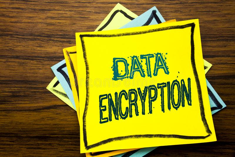 Conceptual hand writing text caption inspiration showing Data Encryption. Business concept for Information Security written on sti. Cky note paper on wooden wood royalty free stock photography