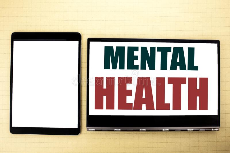 Conceptual hand writing text caption inspiration showing Mental Health. Business concept for Anxiety Illness Disorder written on t. Ablet laptop. Space on the royalty free stock photos